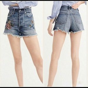 Abercrombie & Fitch High-Waist, Embroidered Shorts